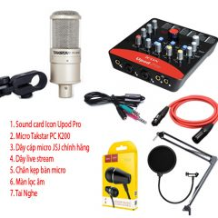 Combo micro Takstar PC K200, Sound Card Icon Upod Pro, Full Phụ kiện