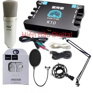Combo micro ISK AT100, kết hợp sound card XOX K10, full phụ kiện