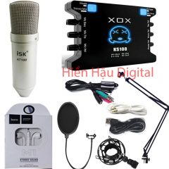 Combo micro ISK AT100, sound card XOX Ks108, phụ kiện