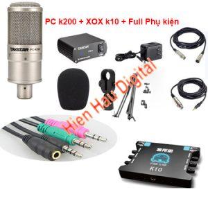 Combo Micro Takstar PC-K200, Sound Card xox k10, Đầy đủ Phụ kiện