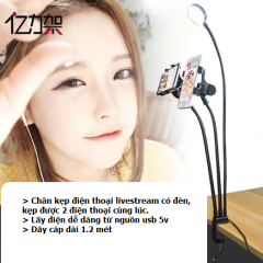 Chân đế điện thoại livstream có đèn 3in1