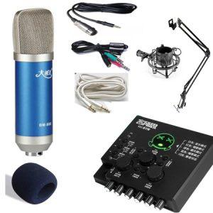 Combo micro Ami Bm800, sound card XOX KX2 và phụ kiện