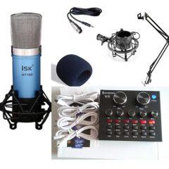 Combo micro ISK AT100, sound card V8 bản tiếng anh và phụ kiện
