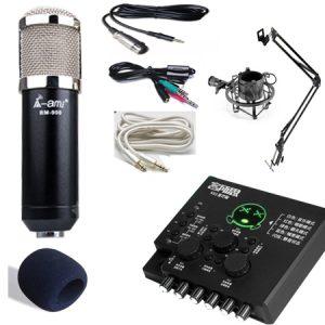 Combo micro Ami Bm900, sound card KX2 new 2018 và phụ kiện