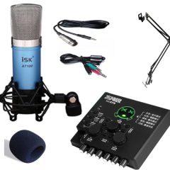 Combo micro ISK AT100, sound card XOX KX2 và phụ kiện