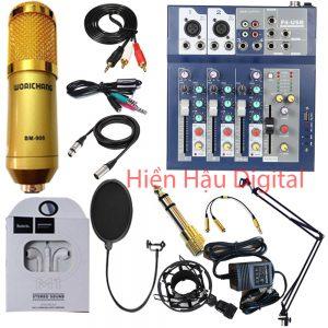 Combo Mixer F4, micro Bm900, full phụ kiện