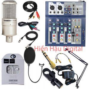 Combo mixer F4, micro Takstar K200 và phụ kiện