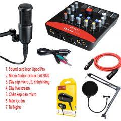 Combo  micro Audio Technica AT2020, Icon UPod Pro và phụ kiện