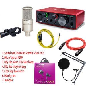 Combo micro Takstar PCk200, sound card Focusrite Solo và phụ kiện