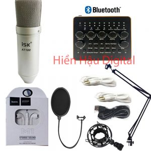 Combo micro ISK AT100, sound card V10 plus, phụ kiện