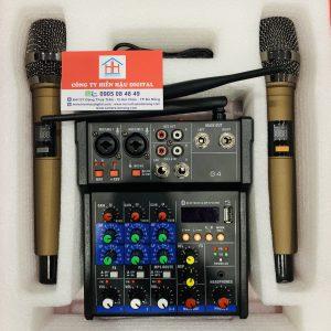 Mixer G4 kèm micro không dây hát karaoke, livestream